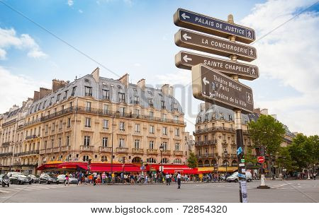 Street View Of Place Saint-michel With Signpost, Paris
