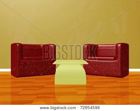 Two Lounge Chairs Set Up For Interview Chat Show
