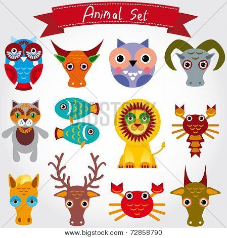 Vector Illustration Of Cute Animal Set Including Lion, Cat, Horse, Cow, Scorpion, Cancer, Fish, Owls