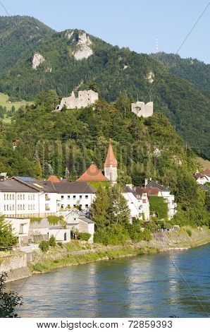Castle in the village Losenstein, Austria