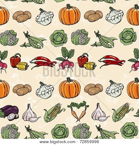 Seamless Horizontal Pattern With Colored Vegetables. Vector Illustrations