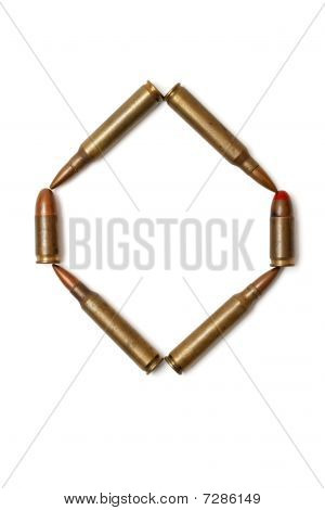 Letter O made of cartridges isolated