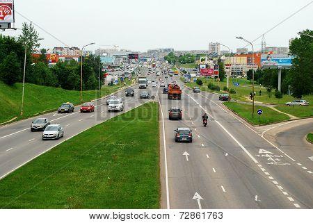 Ukmerges Street And Cars In Vilnius