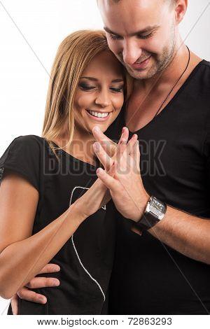 Love Couple true love hand in hand in the studio