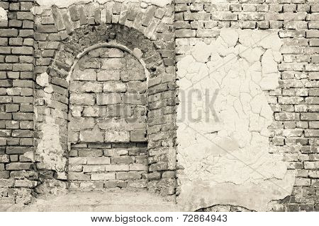 Wall Of The Ancient Building In Monochrome Tones