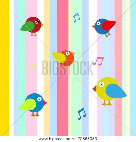 happy bird color background vector