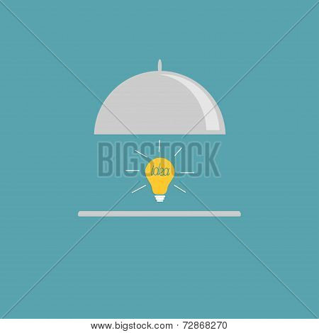 Silver Platter Cloche And Yellow Idea Light Bulb. Flat Design Style.