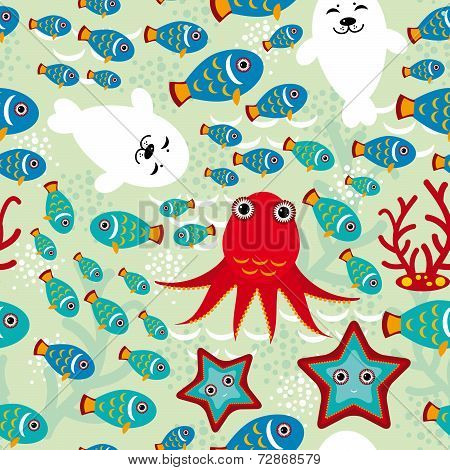 Seamless Pattern With Fish, Sea Lions, Octopus, Starfish, Corals In The Background Water. Vector
