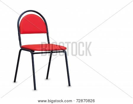 The Office Chair From Red Leather. Isolated