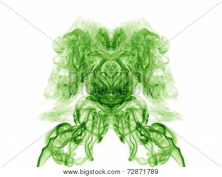Green Artistic Smoke On White Background