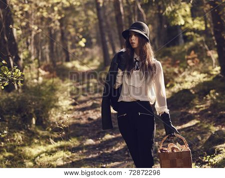Woman And Mushroom Basket