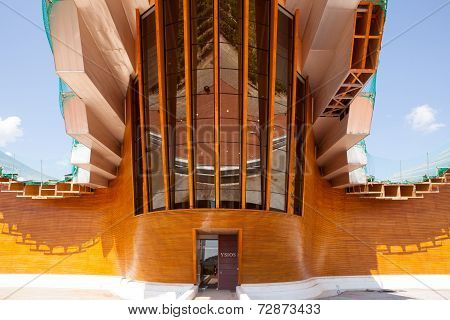 LA RIOJA, SPAIN - SEPT 10 2014 : The modern Ysios Bodega awaits visitors.