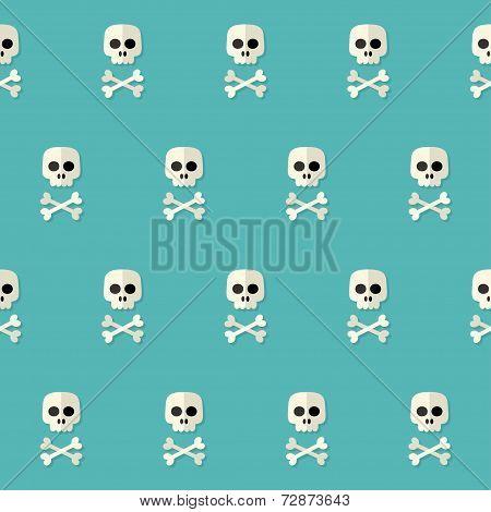 Seamless Halloween Skull Pattern With Bones Over Blue