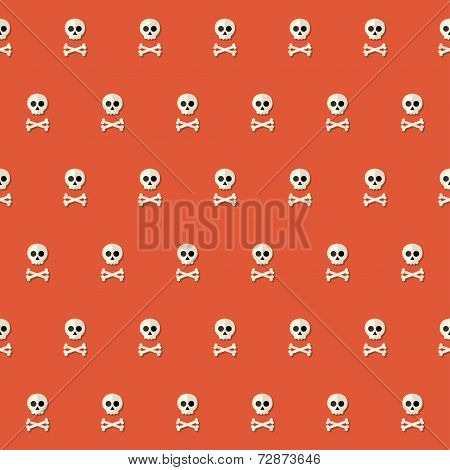 Seamless Halloween Skull Pattern With Bones Over Red