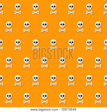 Seamless Halloween Skull Pattern With Bones