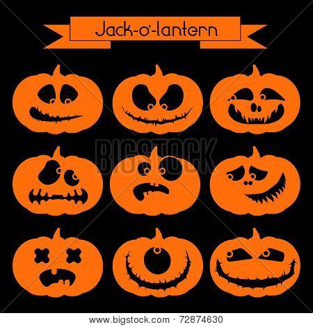 Halloween pumpkin with scary faces