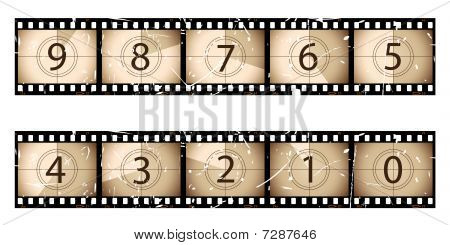 Sepia film strip countdown