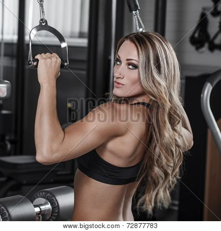 Sexy Bodybuilder Pulldown Practice In Gym