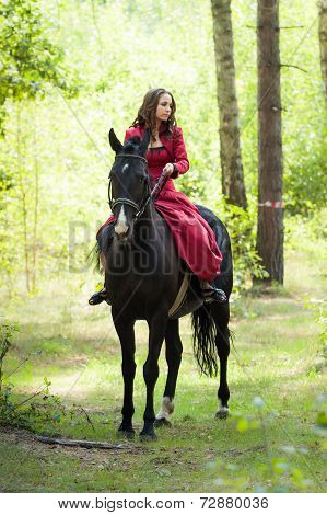 Brunette Girl On Horse