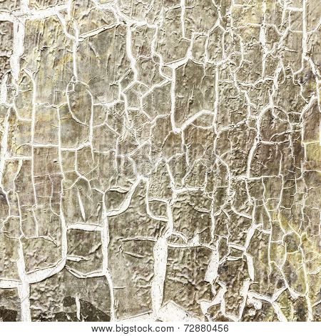 Cracked Paint On The Concrete Wall
