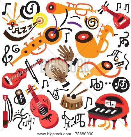 musical instruments - doodles set