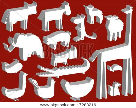 Animal Figurines Over Red Background