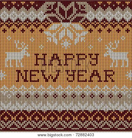 Happy New Year: Scandinavian style seamless knitted pattern