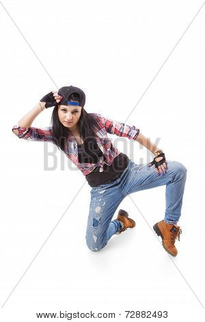 Modern Hip-hop Dance Girl Pose On Isolated Background