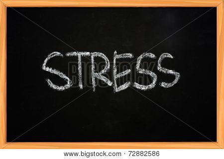 Stress Chalk Writing On Blackboard