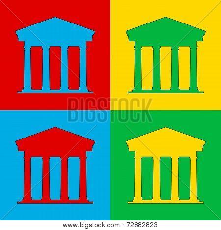 Pop Art Bank Icon