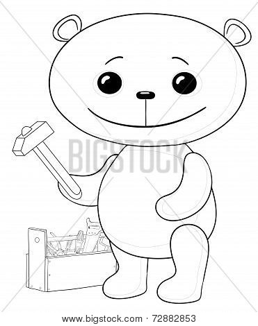 Toy bear worker, contours