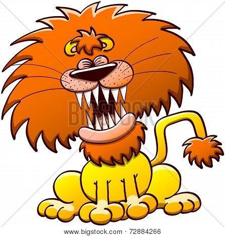 Funny lion roaring