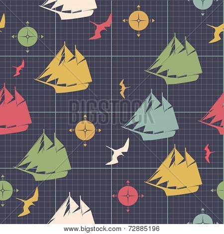 Pattern Ships Compasses Sea Bird Decorative Design On Graph Paper