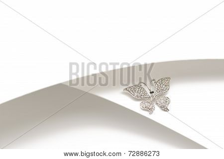 Silver Diamante Butterfly Ornament