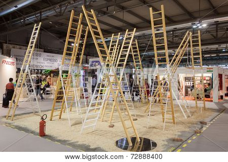 Ladders On Display At Homi, Home International Show In Milan, Italy