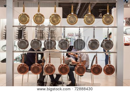 Pans On Display At Homi, Home International Show In Milan, Italy