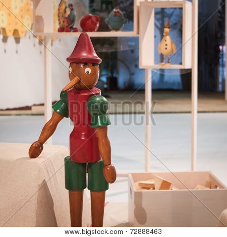 Pinocchio On Display At Homi, Home International Show In Milan, Italy