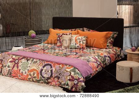 Missoni Double Bed On Display At Homi, Home International Show In Milan, Italy
