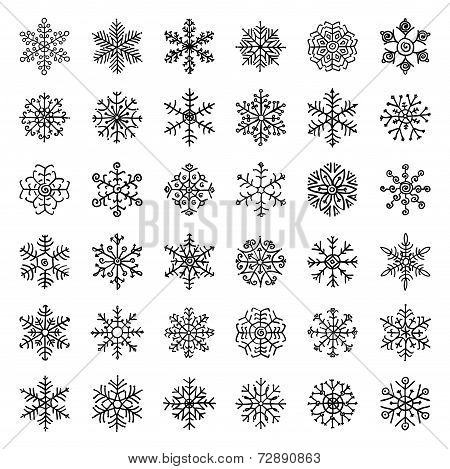 Winter Snow Flakes Doodles