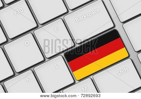 Computer Keyboard With German Flag Button