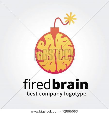 Abstract vector brain bomb logotype concept isolated on white background. Key ideas is ideas, brains