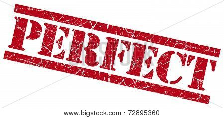 Perfect Red Grunge Stamp Isolated On White
