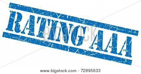 Rating Aaa Blue Grunge Stamp Isolated On White
