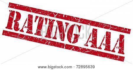 Rating Aaa Red Grunge Stamp Isolated On White