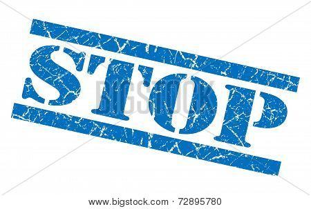 Stop Blue Grunge Stamp Isolated On White