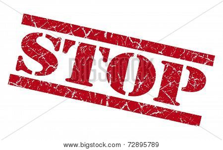 Stop Red Grunge Stamp Isolated On White