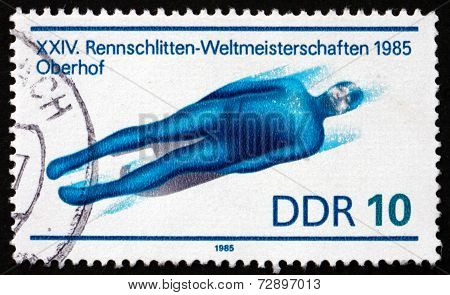 Postage Stamp Gdr 1985 Single Seat Luge