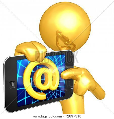 Gold Guy With Touch Screen Email