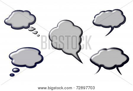 Set Of Grey Beveled Speech Clouds