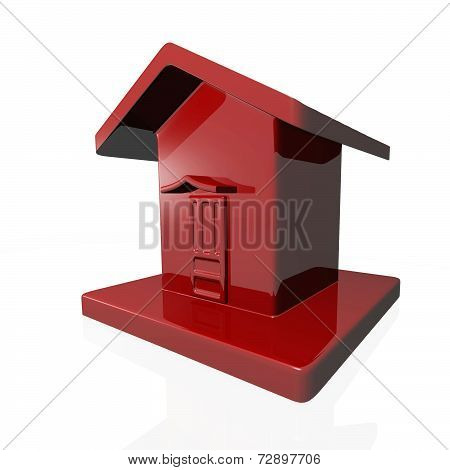 Tiny Red Plastic House Icon